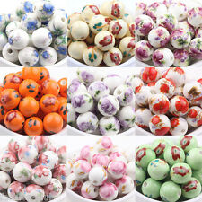 10x Fashion Printed Ceramic Porcelain Loose Spacer Beads Jewelry Findings 12mm