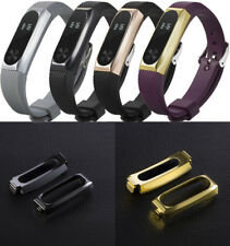 Luxury Silicone Watch Band + Stainless Steel Case Cover For Xiaomi Mi Band 2