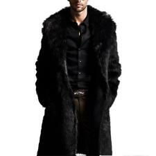 Premium Mens Faux Fur Parka Coat Winter Long Jacket Outerwear Overcoat Black