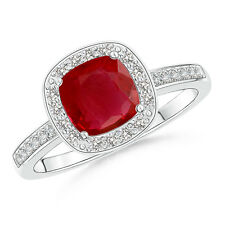1.22 ctw Halo Diamond Cushion cut Ruby Engagement Ring in 14k White Gold Size 6