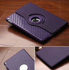 Grid Pattern Silicone 360 Rotating Stand Leather Case Cover Skin for Apple iPad