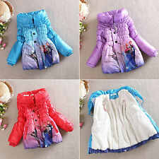 Girls Winter Frozen Coat Puffa Jacket Elsa Anna Olaf Ages 3/4/5/6/7 - 4 Colours
