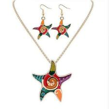 Drip Resin Earrings Necklace Jewelry Sets Bohemia Starfish Hot Beach Vintage
