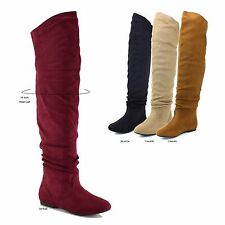 NEW Women Faux Suede Over The Knee High Wide Calf Pull On Slouch Flat Heel Boot