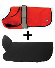 Danish Design 2 In 1 Waterproof Orange Dog Coat - Removable Polar Fleece Liner