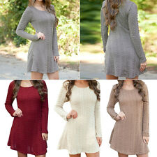 Women Long Sleeve Bodycon Jumper Tops Knitted Sweater Party Tunic Mini Dress