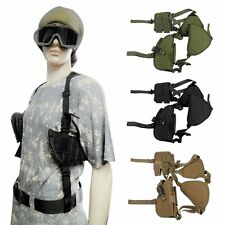 Vertical Tactical Shoulder Holster Pistol Handgun Holster with Double Mag Pouch