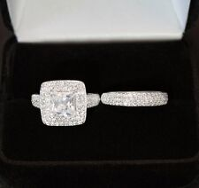 3CT Pave ENGAGEMENT RING + Matching WEDDING Band Silver 925 White Gold Look!