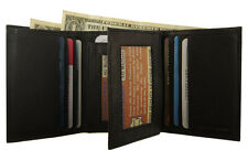 1221 -100% GENUINE COWHIDE LEATHER TRI-FOLD & CENTER FLAP WALLET IN BLACK