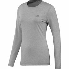 Adidas Womens Grey Climalite Prime Long Sleeve Casual Sports Top [G69618]