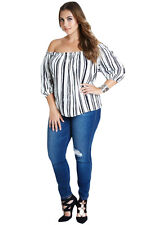 Striped Elasticized Neckline Off Shoulder 3/4 Sleeves Stripe Top Women Blouse