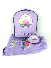 OFFICIAL PEPPA PIG GIRLS LILAC SCHOOL PURSE TRAINER BAG BACKPACK 3 PIECE SET NEW
