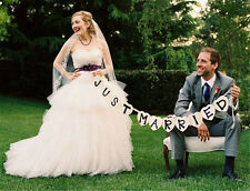 """Bridal Shower Wedding Decoration """"JUST MARRIED"""" Banner Signs Photo Props Favors"""