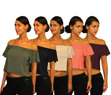 **Womens Ladies Off The Shoulder Flared Sleeve Bardot Gypsy Crop Top **