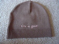 LIFE IS GOOD Brown Knit Winter Beanie Hat with Pink Heart Trim