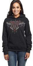 Cowgirl Up Womens Black Cotton Hoodie Gun Heart Hooded