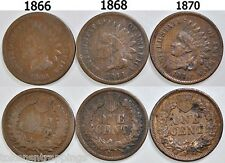 1866 1898 & 1870 Indian Head Cents Semi Keys Dates