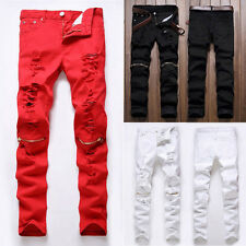 Fashion Men's Stripped Casual Straight Slim Fit Denim Jeans Trousers Pencil Pant