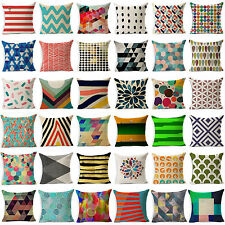 Vintage Geometric Flower Cushion Cover Cotton Linen Throw Pillow Case Home Decor