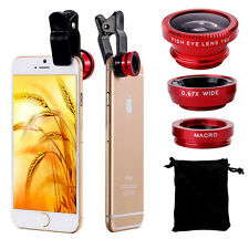 Universal 3in1 Clip On Camera Lens Kit Funny Wide Angle Fish Eye Macro