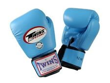 Twins Special Muay Thai Boxing Gloves Premium Leather w/ Velcro Light Blue BGVL3