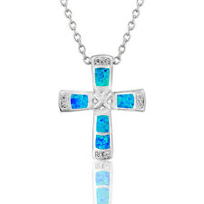 Dormith Cross Fire Opal Pendant 925 Silver Necklace Chain 18in Can Adjustable