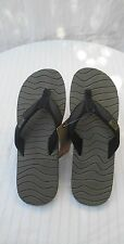 REEF ROUNDHOUSE Flip Flops Mens 11 BLACK & OLIVE 2203 Sandals Shoes