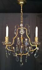 Stunning Heavy French Bronze Antique 3 Arm Crystal Caged Candle Chandelier Light