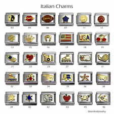 Your Pick Italian Charm 9mm Stainless Steel Bracelet Link Charms-010046