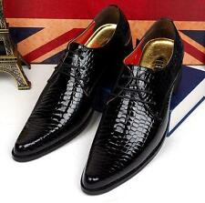 Fashion mens dress formal pointy patent leather lace casual oxford party shoes