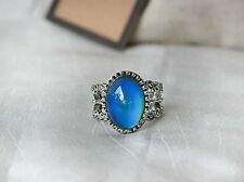 Antique Silver Plating Floral Oval Stone Mood Ring