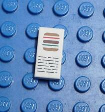 LEGO Decorated Tile White 1 x 2 with Hamburger and Writing Pattern x1PC