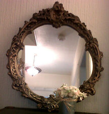Lovely Large Vintage 1950's Oval Rococo Antique Gold Gilt Mirror Shabby Chic