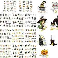 4x Sheet Nail Art Stickers Halloween Patterns Water Decals Transfer Decoration