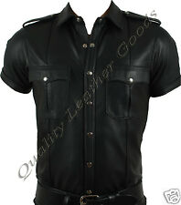 100% GENUINE LEATHER MILITARY POLICE UNIFORM STYLE SHIRT DIFFERENT DESIGNS BLUF