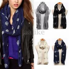 Fashion Women Lady Voile Owl Print Soft Long Scarf Shawl Stole Neck Wrap Scarves