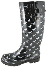 Smoky Mountain Boots Womens Ponies Black/White Rubber Waterproof Rain
