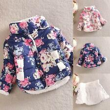 Kid Girl Floral Printed Winter Warm Long Sleeve Jacket Thick Coat Outerwear 2-6T