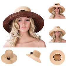A348 Womens Girls Foldable Floppy Cap Raffia Straw Wide Brim Beach Sun Hat