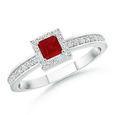 Princess Cut Solitaire Natural Ruby Diamond Halo Ring 14k White Gold Size 6