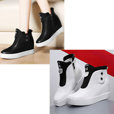 Black/White Women Girl Hidden Heel High Top Sneakers Ankle Wedge Shoes Side Zip