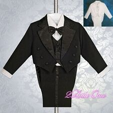 5 Pcs Set Formal Tuxedo Suit w/ Tail Wedding Party Christening Size 6m-8 #011A
