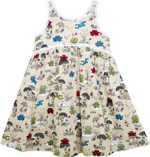 Girls Dress Halter Sleeveless Frog Mushroom Lotus Flower Size 2-6 US Seller