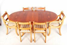 Yew Dining Table and Chairs Antique Reproduction Suite 6 Dining Chairs Carvers R