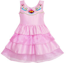 Girls Dress Embroidered Flower Tiered Cake Party Birthday Sundress Size 4-10