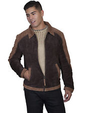 Scully Leather Mens Two-Tone Suede Zip Front Jacket Cafe Brown/Chocolate