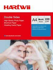 A4 High Glossy Double Side 220Gsm Photo Paper Inkjet Paper 100-1000 Sheet Hartwi