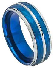 Tungsten Ring Men Women Wedding Band Two-tone Blue IP Plated Hammered Finish 8mm