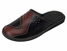 Mens Leather Slippers Mules Shoes, Hand Made, Black Brown Size 6 7 8 9 10 11 12