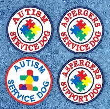 AUTISM ASPERGERS SERVICE DOG PATCH 3 inch Danny & LuAnns Embroidery support